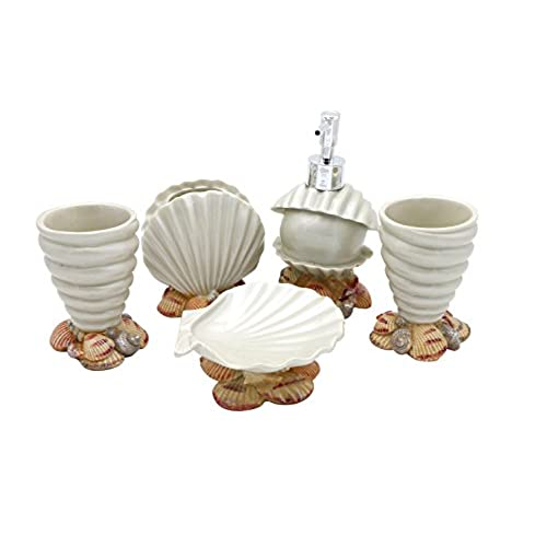 Hot San Resin 5 Pieces Bathroom Accessory Set   Conch And Seashell Design  Ensemble,Bathroom Vanities,Home Decor