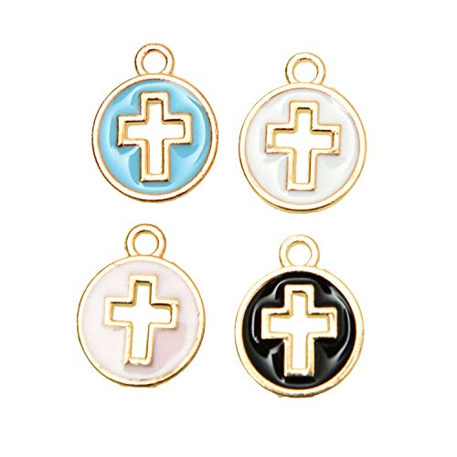 Monrocco 40Pcs Mixed Color Enamel Cross Charm Cross Pendant Beads DIY Cross Charm Bead for Necklace Bracelet Ankle Jewelry DIY Making