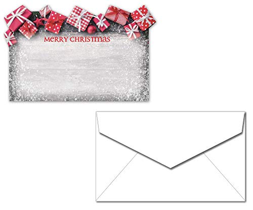 Merry Christmas Presents Enclosure Cards with Envelopes - 40 Sets - Unique Die Cut Foil Design - Small Cards for Gifts or Flowers ()