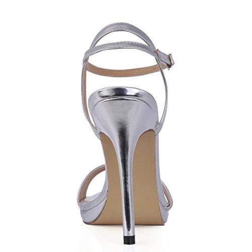 Mode Simple Femmes Bout Ouvert Chaussures À Talons Hauts Chaussures Stiletto Sm00601 Brevet Dargent