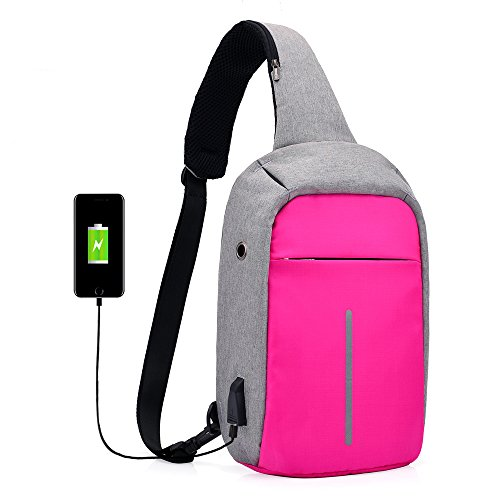Sumcoa Anti Theft Chest Pack Slim Sling Bag Crossbody Bag with USB Charger (rose red)
