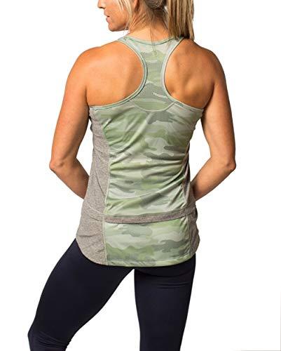 Blu Pocket - Zuma Blu Women's Racerback Tank Top with Pockets - Graphic Print Sleeveless Active Shirt for Cycling, Running, Workouts, Biking (Camo Green, MD)