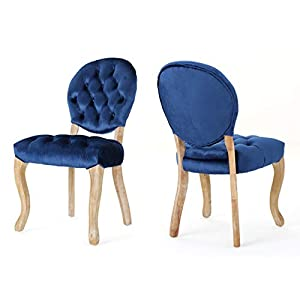 Christopher Knight Home Xenia Tufted Navy Blue Velvet Dining Chairs (Set of 2), Natural