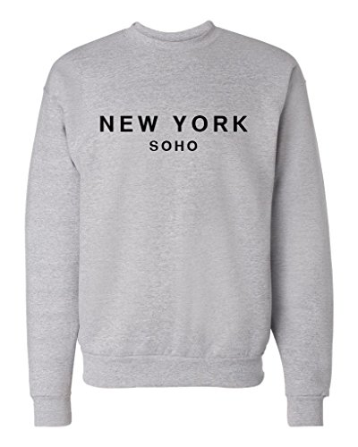 New York Soho Unisex Mens Womens Crewneck Sweatshirt Jumper Pullover, Heather, M