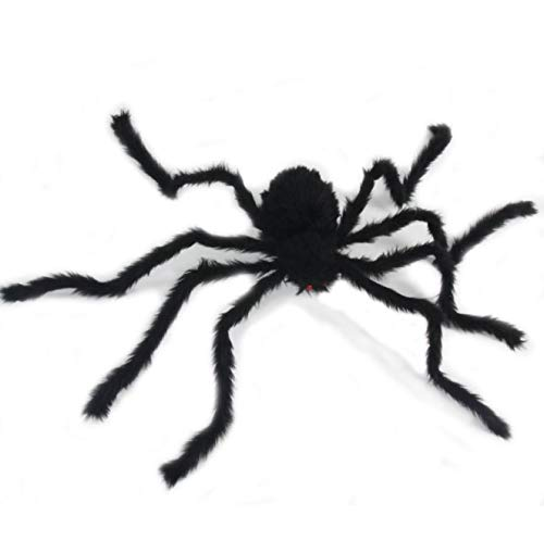Large Spider 4 Ft. 125cm Black Hairy Giant Spider Outdoor Decor Yard Decorations for Halloween Haunt Décor Party Favor -