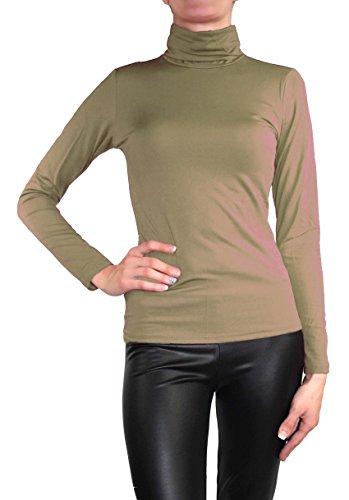 Muse Camiseta de manga larga y cuello alto para mujer, cálida, elástica Schlamm Braun