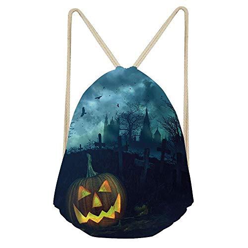 (Niomhdos Halloween Halloween Pumpkin in Spooky Graveyard Eerie Gloomy Stormy Atmosphere Gym Sack Bag Drawstring Backpack Sport Bag for Men & Women School Travel)