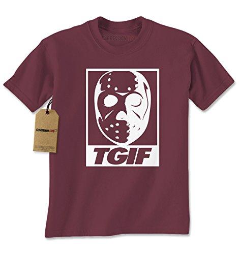 Mens TGIF Jason Hockey Mask T-Shirt Large Maroon (Mask Maroon)