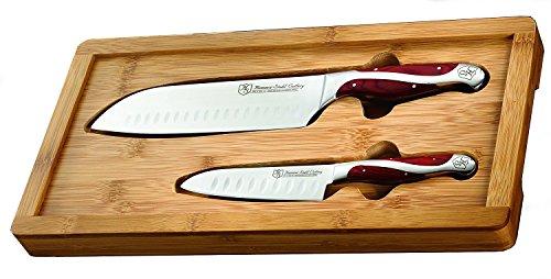 Hammer Stahl Santoku Knives w/ Bamboo Case Set - 2 Knives by Hammer Stahl