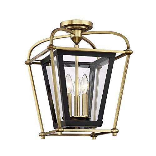 Waterbury Design Works 10302 Baron Semi-Flush Mount Foyer Light, Aged Brass and Matte Black