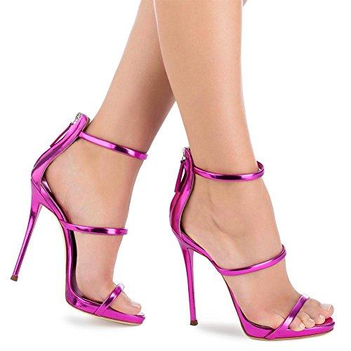 2018 Plus Talon Taille Talons Brillant purple la Sandales L Stilettos YC Sandales Hauts Chaussures avec à Femmes Talons Pour Dames q4wwS0xag