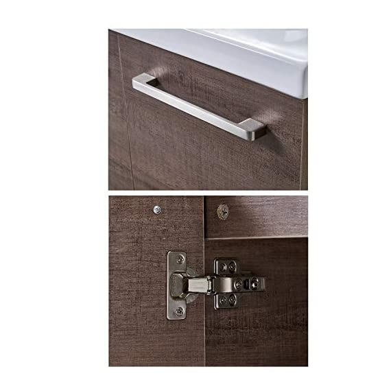 """Ufaucet Modern 21"""" Dark Brown Wood Grain Wall-Mounted Bathroom Vanity, Single 2-Door Bathroom Sink Cabinet Combo Set with Ceramic Vessel Sink - Eco-Friendly construction:MDF wood board and melamine finish. Dimensions:23.6*20.9*18.1 in. Vessal sink Size: 24*18.3*6.7 in.Shipped in two separate packages. Wall-mounted design is the best way to save your bathroom space, and avoid hygienic dead angle on the floor. - kitchen-dining-room-furniture, kitchen-dining-room, kitchen-dining-room-chairs - 410la0XJ0OL. SS570  -"""