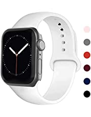 Ontube Bands Compatible with iWatch,Soft Silicone Adjustable Sport Replacement Straps for iWatch Series 5/4/3/2/1 (42mm/44mm, White)