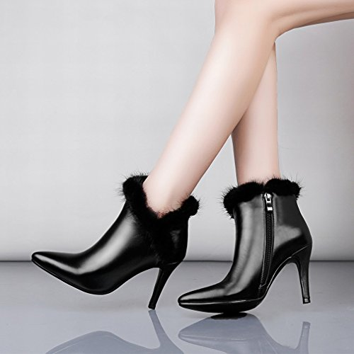 XAI la Estación Europea Cuenta con Zapatos Auténticos, Botas de Mujer, Botas Finas con Botas Puntiagudas, Botas Grandes Negro
