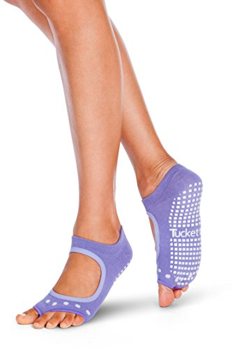 Tucketts Womens Yoga Socks, Toeless Non Slip Skid Grippy Low Cut Socks for Yoga, Pilates, Barre, Studio, Bikram, Ballet, Dance - Allegro Style (Lavender)- one size fits most