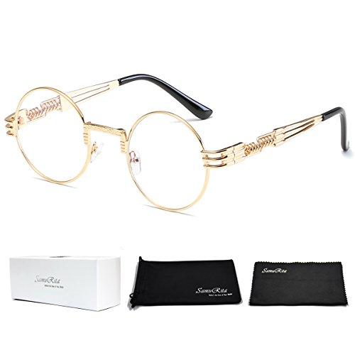SamuRita Designer Steampunk John Lennon Metal Round Sunglasses Vintage Eyewear(Clear Lens/Gold ()