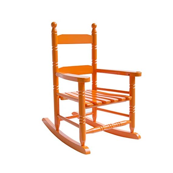 "Caymus Classic Kid's Rocking Chair, Solid Wood,Orange - COMFORTABLE:14.7 x 18.5 x 22.6 inch. 2"" wide armrest, 23"" high backrest, 12"" wide seating, provides kids with a safe and completely relaxed rest experience Ages 1-4. Modern furniture heavy-duty structure to withstand kids' body Tested and in Compliance with Consumer Product and Safety Improvement Act for lead and other toxins. - patio-furniture, patio-chairs, patio - 410laG2WT6L. SS570  -"