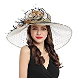 Women's Organza Church Derby Fascinator Cap Kentucky Tea Party Wedding Hat (Champagne Dot)