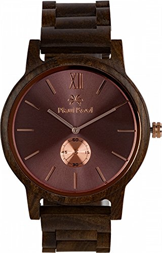 Wooden Watch For Men Maui Kool Kaanapali Collection Analog Large Face Wood Watch Bamboo Gift Box (C3 - Coffee Face) by Maui Kool (Image #2)