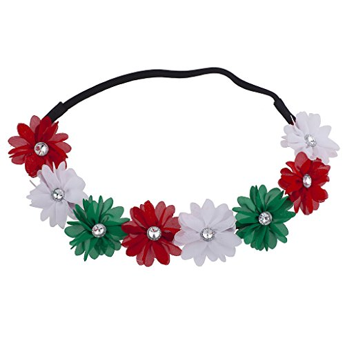 Lux Accessories Festive Holiday Christmas Red Green Glitter Flower Headband