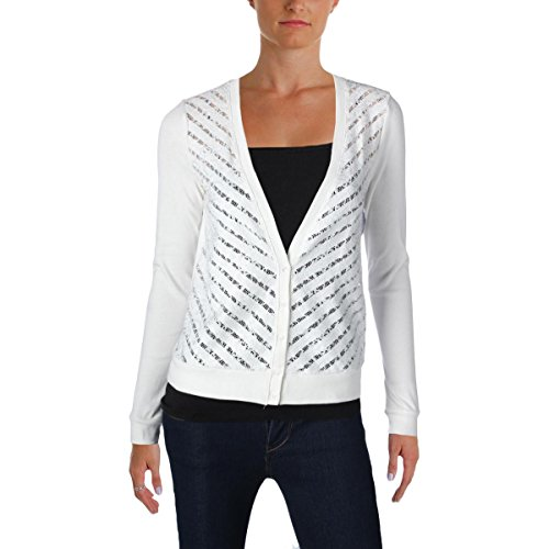 Three Dots Womens Lace Front Button Front Cardigan Top White (Three Dots Long Sleeve Tunic)