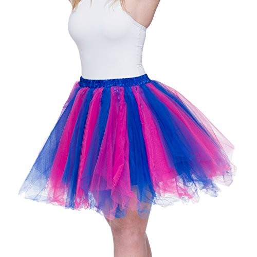 Dancina Women's Adult Vintage Petticoat Tulle Tutu Skirt [Sticker XXL],Blue / Fuchsia,Plus Size (Blue Jean Skirts In Bright Colors)