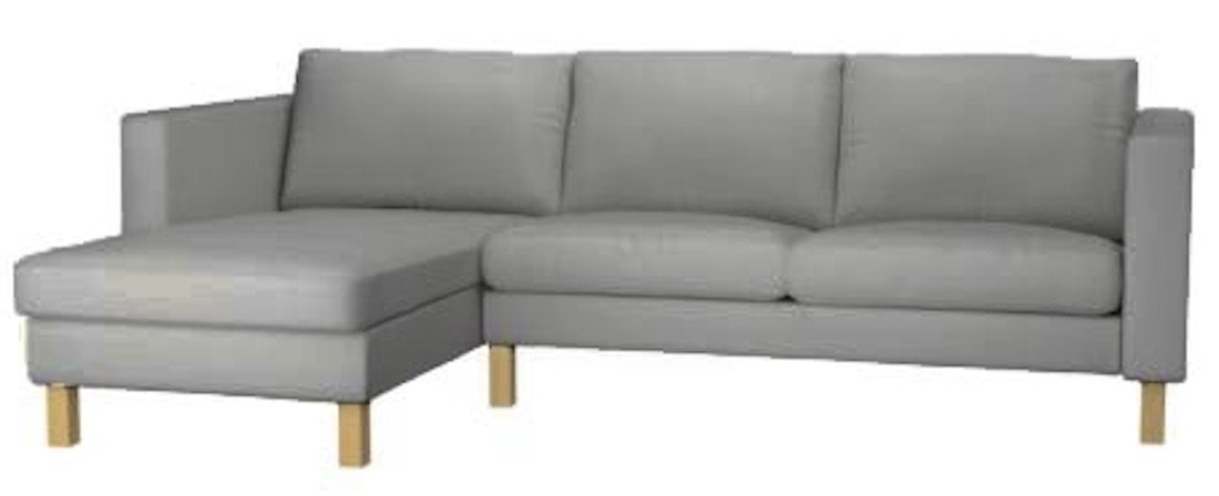 Sofa Cover Only! The Karlstad Loveseat ( Two Seat ) Sofa with Chaise Lounge Sectional Cover Replacement Is Custom Made For Ikea Karlstad Slipcovers (Light Gray)