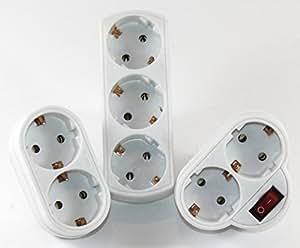 K&B - Juego de enchufes multiplicadores (2 +3+ 2enchufes con interruptor, con protección de contacto 550+ 558+ 568)