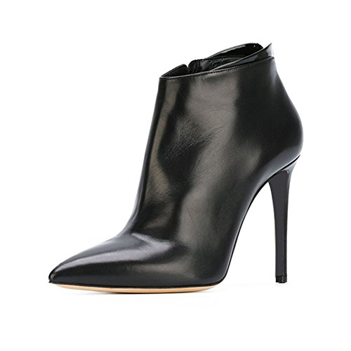 LIANGJUN Ankle Boots High-heeled Spring Winter Women Shoes, 2 Colors Available, 7 Sizes (Color : Black, Size : EU37=UK5=L:235mm) Black