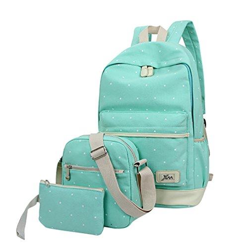 MingTai lona mochila escolar juvenil bolsas de colegio Bolsos de las mujeres bookbags cartera del bolso La 3pcs Verde