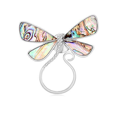 SENFAI Dragonfly Abalone Shell Brooch Eyeglass Holder 3 Tone Wearable Art (Silver)