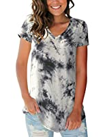 Women's Tops Tie Dye V Neck Summer Casual Short Sleeve T Shirts