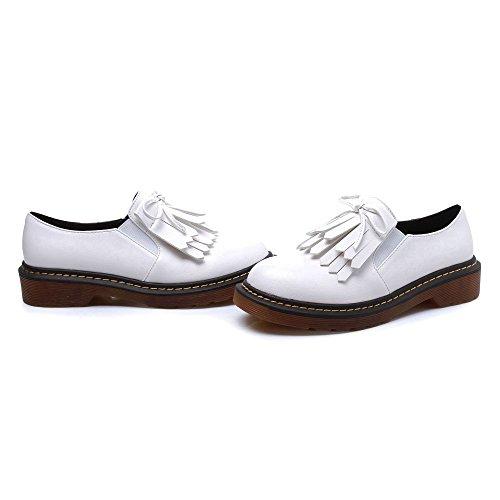 JRenok Chaussures de Ville Femme Confortable Derbies Mocassins Cuir Sneakers Casuel Mode Marcher Baskets Plateforme Noir Blanc Jaune Blanc dz5vW
