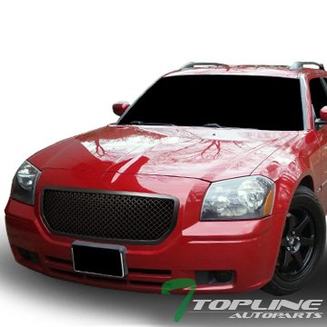 Topline Autopart Matte Black Mesh Front Hood Bumper Grill Grille ABS For 05-07 Dodge Magnum