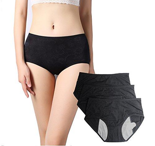 Women Floral Menstrual Period Sanitary Leakproof Brief & Postpartum Easy Clean Bleeding Protective Panties-3 Pack (Black, (Absorbent Protective Underwear)