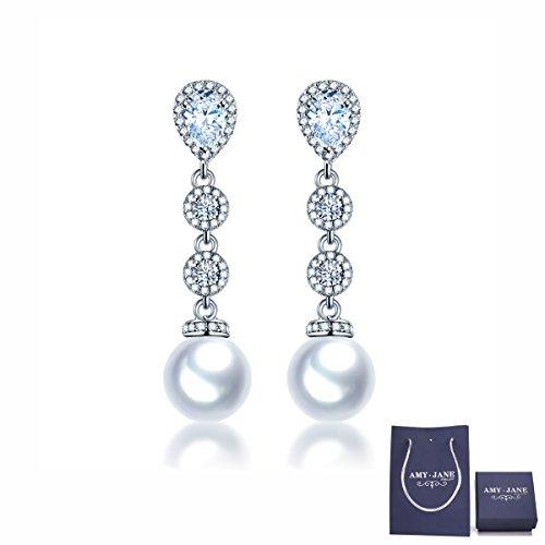 Wedding Bridal Rhinestone Long Drop (Pearl Dangle Earrings for Wedding – AMYJANE Cubic Zirconia Crystal Rhinestone Pearl Drop Earrings for Women Bridal Jewelry (Long Pearl Earrings))