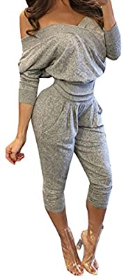 Imily Bela Women's Sweatheart Off-shoulder Top&pant Sweatsuit 2 Pieces