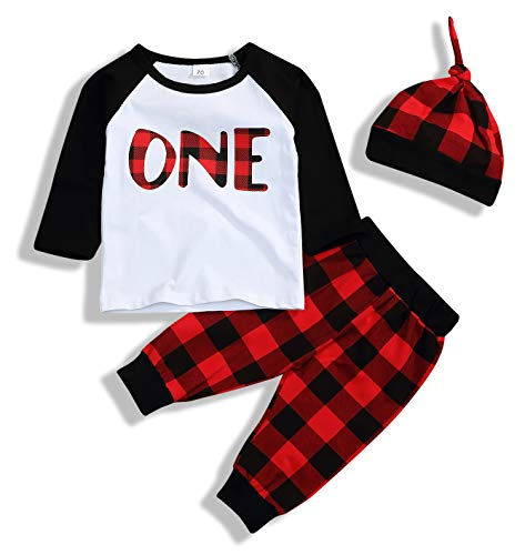 YOUNGER STAR Newborn Baby Outfits Long Sleeve T-Shirt with Red Plaid Pant and Hat Christmas Costume (White, 12-18 Months) -