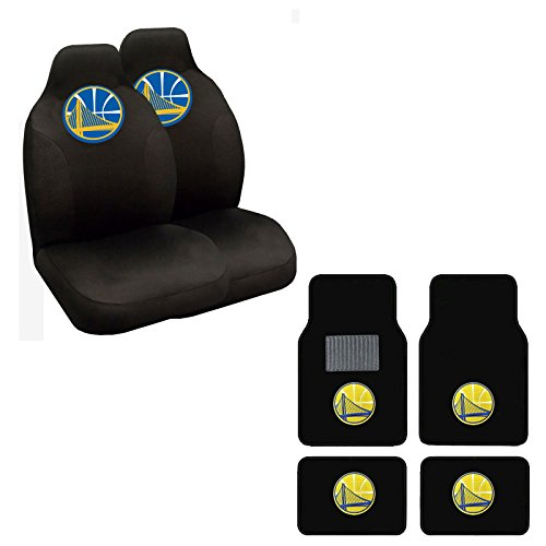 NBA WARRIORS Seat Cover and Floor mat. Wow! Warriors Logo On Front and Rear Auto Floor Liner. Universal Fit High Back Seat Cover Promptly display Warriors Spirit