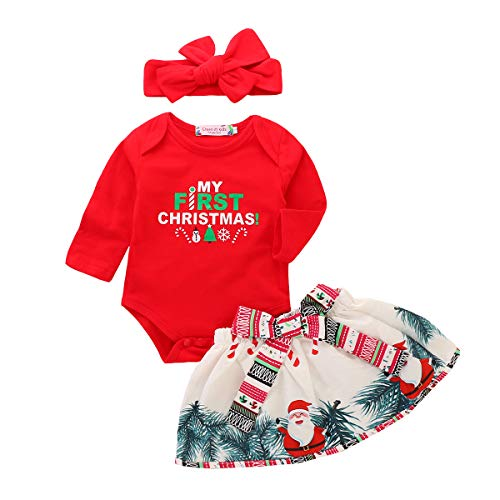 - Christmas Toddler Newborn Baby Girls Xmas Romper Bowknot Santa Skirt Headband 3PCS Set Gift (Red, 6-12 Months)