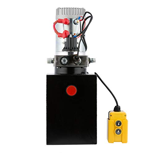 CO-Z Hydraulic Pump for Car Lift, Single Acting Hydraulic Power Unit for Dump Truck Dump Trailer with Steel Reservoir, Double Hydraulic Cylinder of 12V Power Supply & 8 Quart