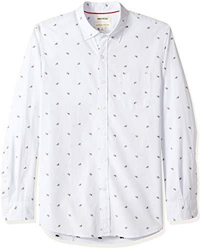 Goodthreads Men's Standard-Fit Long-Sleeve Dobby Shirt, -light blue paisley, X-Large ()