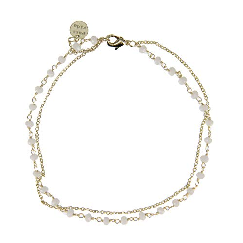 Pura Vida Gold Beaded Chain with Opal Beads Bracelet- Waterproof, Artisan Handmade, Adjustable, Threaded, Fashion Jewelry for Girls/Women ()