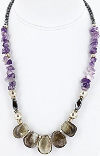Certified Authentic Navajo .925 Sterling Silver Natural SMOKY QUARTZ and AMETHYST Native American Necklace