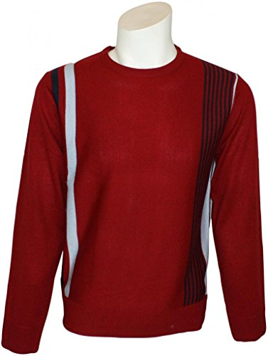Men's Relco Classic Red Mod Racing Stripes Fine Knit Jumper Large (Red Fine Stripe)