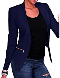 Fieer Womens Slimming Pure Colour Open Short Blazer Jacket Suits