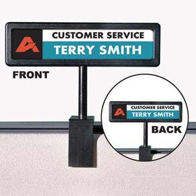 (Advantusamp;reg; - People Pointer Cubicle Sign, Plastic, 9 x 2-1/2, Black - Sold As 1 Each - Create Your own Laser/Inkjet Sign from Easy-to-use templates.)