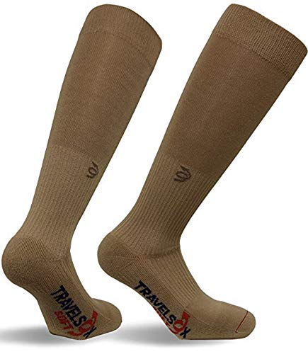 Travelsox OTC Travelsoft Graduated Compression Socks with Silver DryStat TSS 6000 Khaki, X-Large