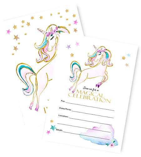 - Unicorn Invitations | Large | 12 Invitations + 12 Envelopes | Double Sided | Watercolor with Digital Gold by Tinselbox | Kids Party | Baby Shower | Bridal Shower