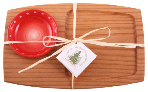 Out of the Woods of Oregon Appetizer Serving Board with Red Serving Bowl